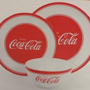Coca Cola 12 Piece Melamine Dinnerware Set New